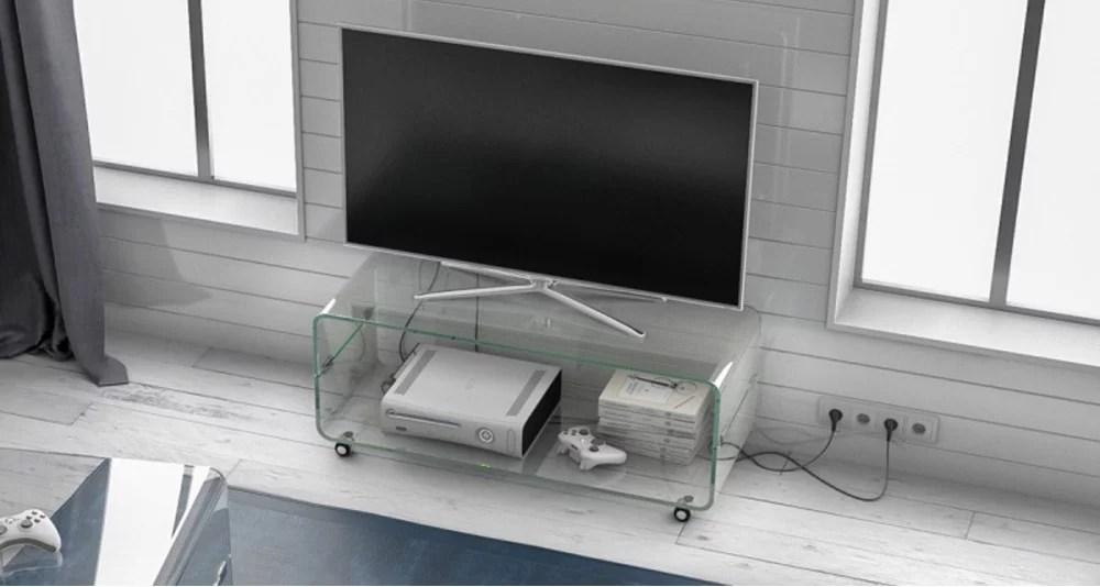 meuble tv elwenn a roulettes en verre cristallin