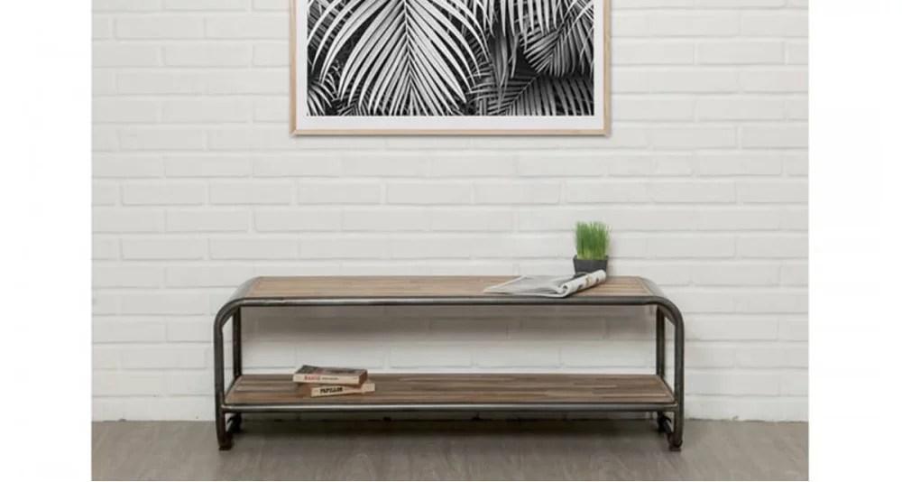 meuble tv 120 cm en teck recycle santiago