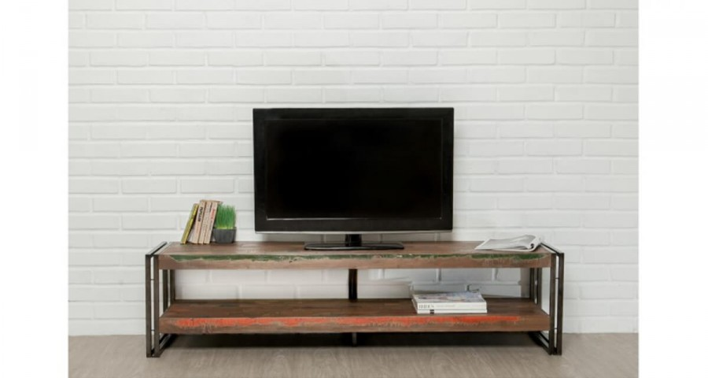 meuble tv 160 cm en bois recycle colorada