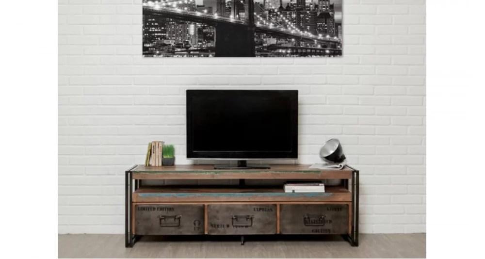 meuble tv ethnique en bois recycle colorada