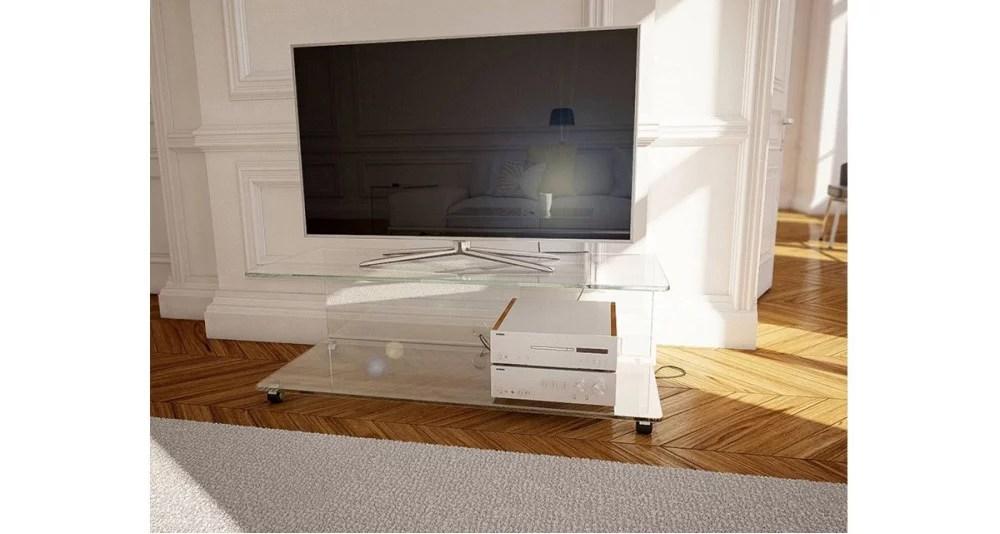 meuble tv en verre cristallin a roulettes maud