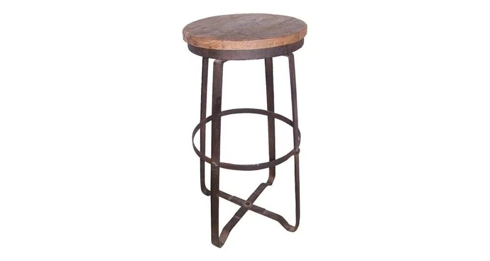 tabouret de bar bois vieilli et fer noir monteria