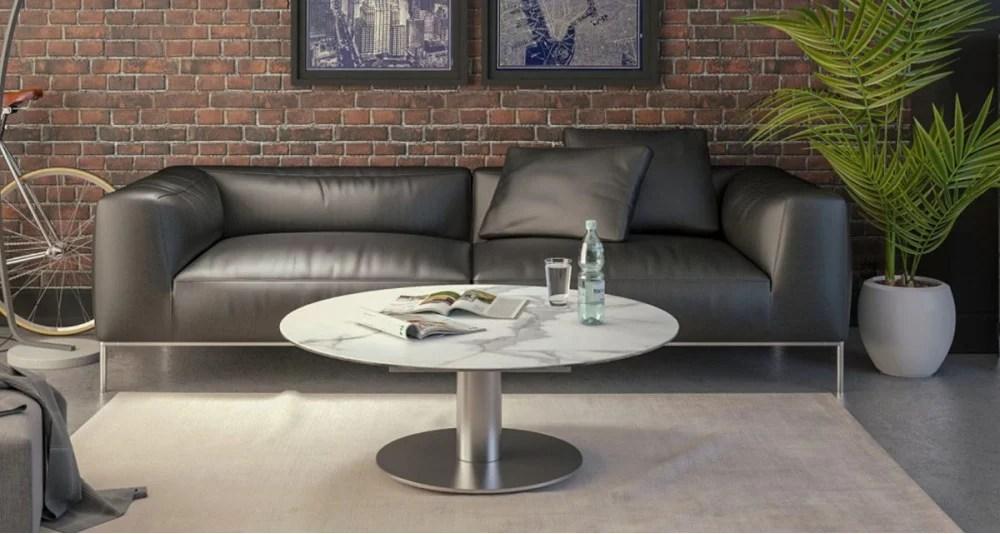 table basse ronde extensible plateau ceramique onyx 4 coloris