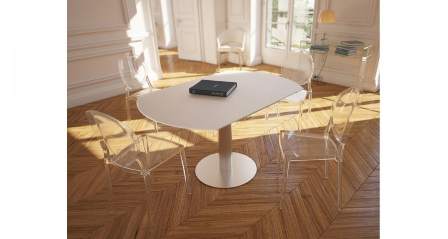 table repas ronde a rallonges retractables onyx 6 coloris