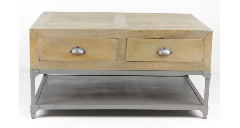petite table basse industrielle en bois et metal mcalester