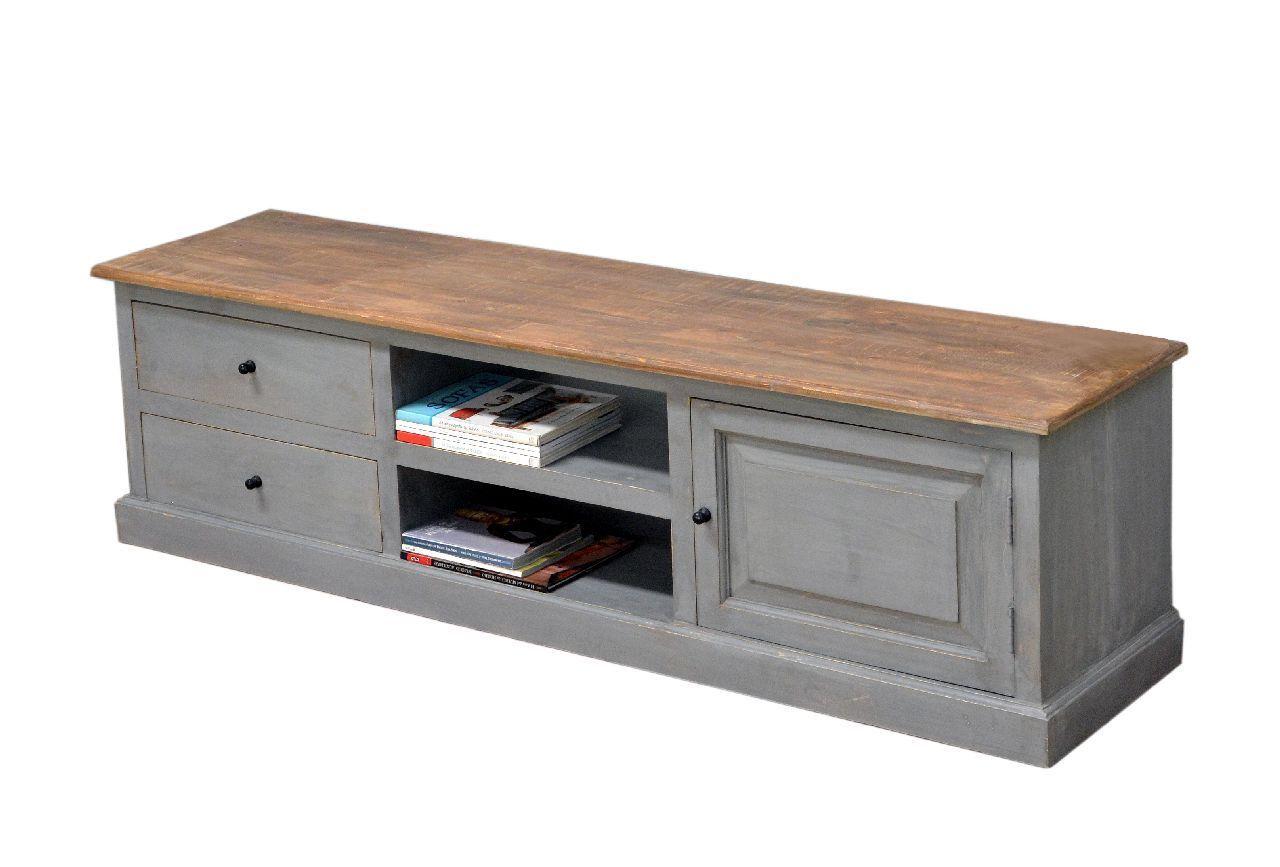 meuble tv manguier cottage 1 porte 2 tiroirs 2 etageres naturel gris
