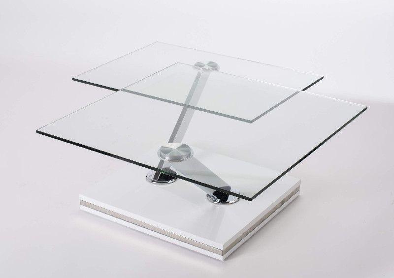 table basse verre twix double plateaux