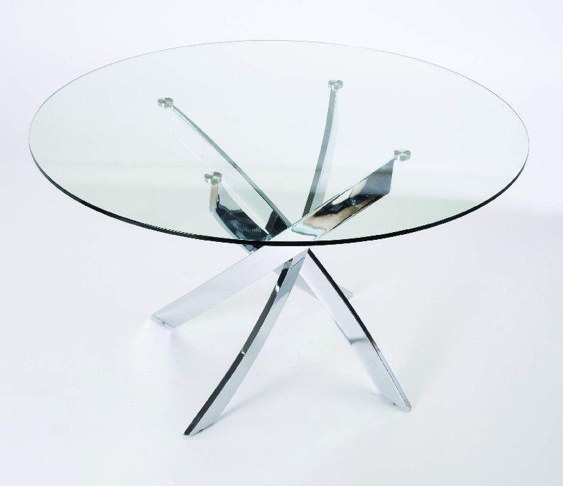 Table Repas Ronde Verre Jazz Chrome Mobilier Decotaimefr