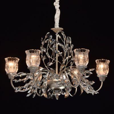 lustre flora metal argent abat jour verre transparent 6 eclairages