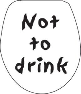 Stickers originaux : le sticker design WC Not to drink