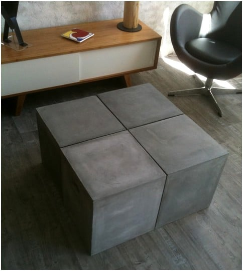 table basse aspect beton modulable