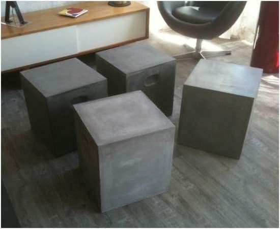 table basse aspect beton modulable