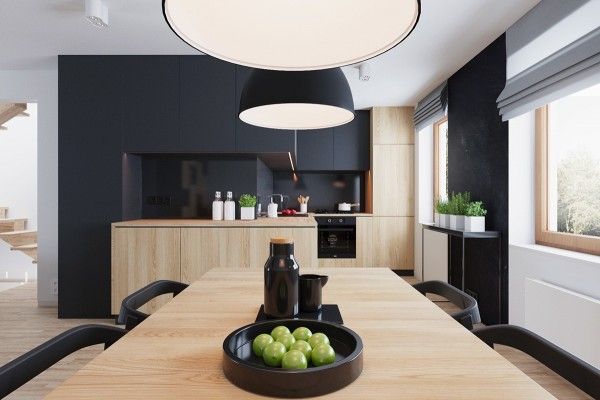 Decoration cuisine : mélangez le noir, le blanc et le bois