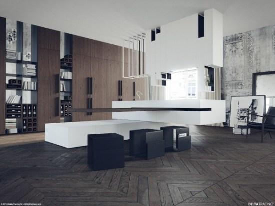 Decoration cuisine noir blanc bois