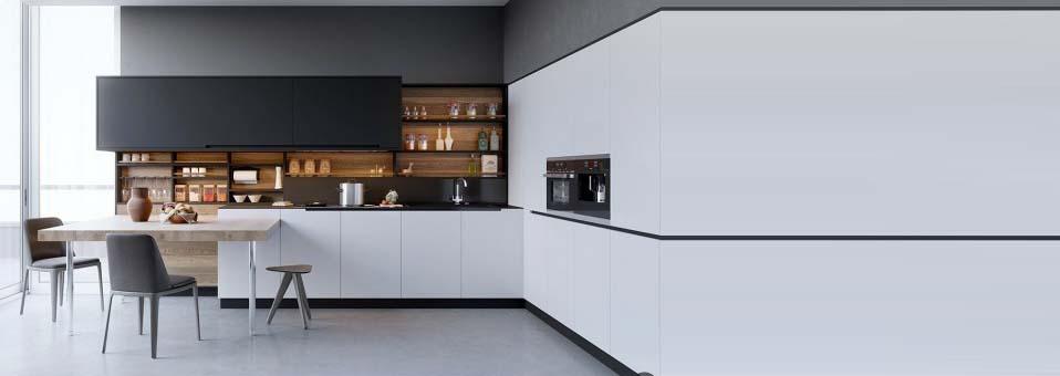 Decoration cuisine m langez le noir le blanc et le bois - Cuisine design noir et blanche ...