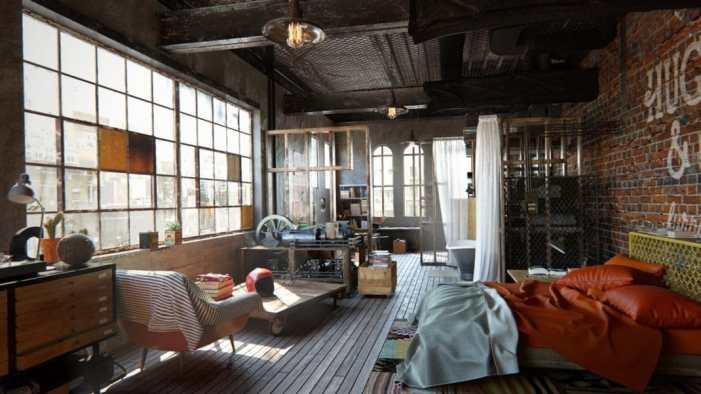 loft classique, masculin, et industriel