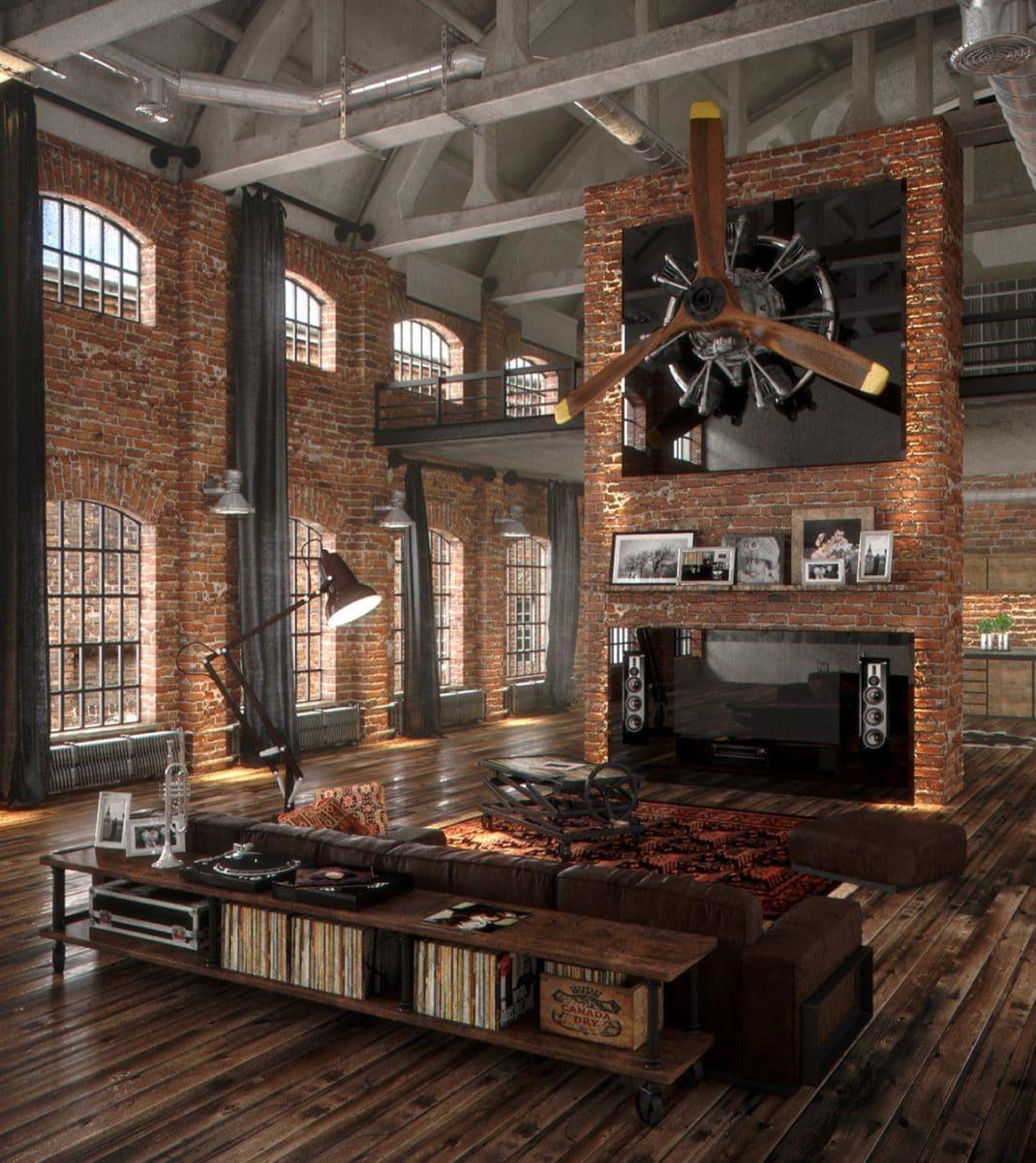 Les Murs De Briques Ont Vraiment Une Place Centrale Dans Ce Loft. Un Peu  Défraîchis, Ils Contrastent Parfaitement Avec Le Plafond Voûté Blanc.