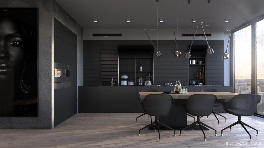 Vous Remarquerez La Subtile Transition Permettant De Passer Du Noir Au Gris  Pour Délimiter La Cuisine Et Le Salon. Cuisines Noires Deco Design