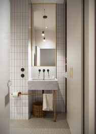 Honey White - Lumière et sophistication moderne dans un appartement de deux chambres