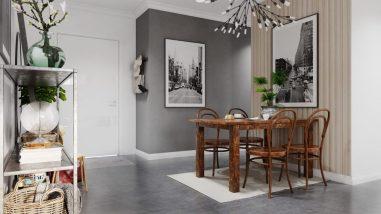 décoration grise et blanche relevée avec un maximum de verdure 4