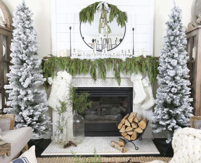 Décorer sa cheminée à Noël rester naturel