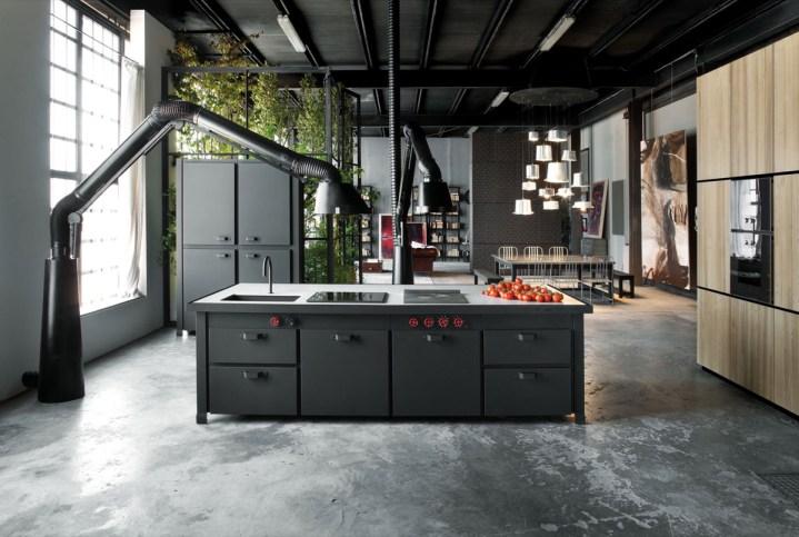 Un sol en ciment dans des cuisines industrielles