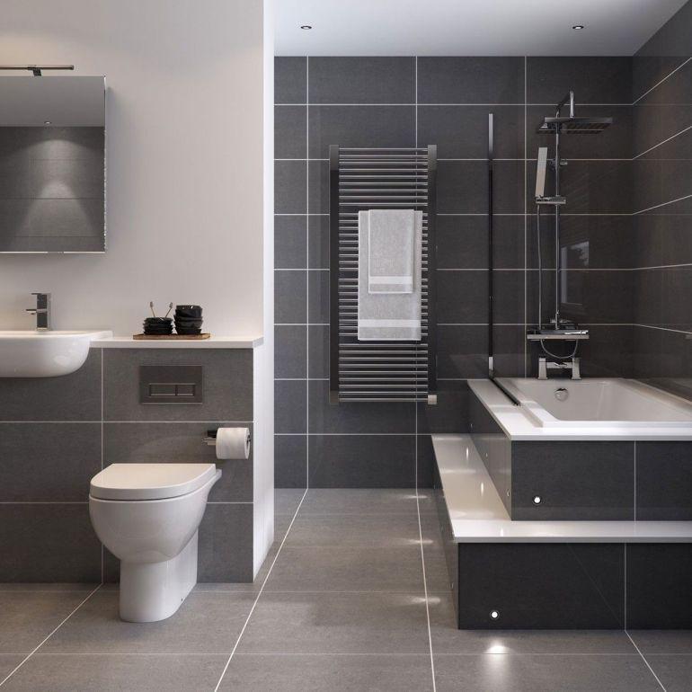 Salle de bain gris foncé contemporain