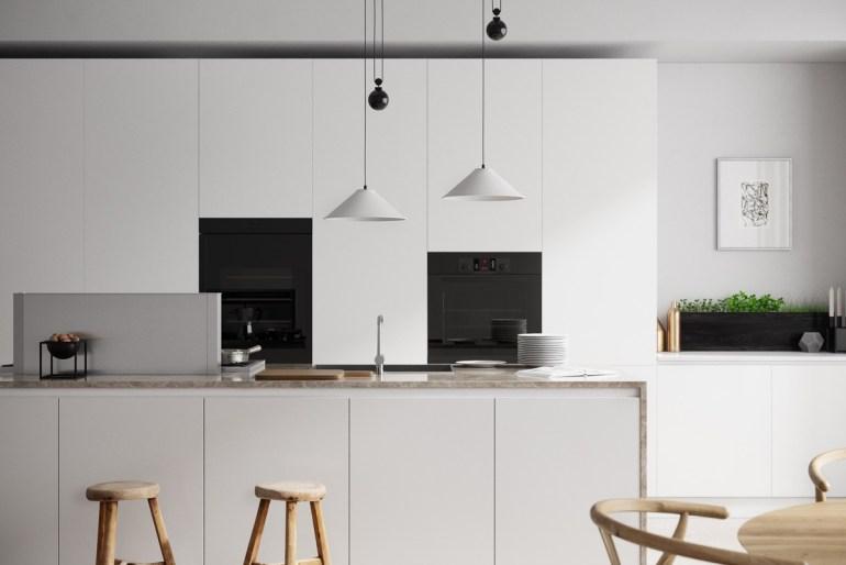 Des cuisines minimalistes tout de blanc vêtues 2