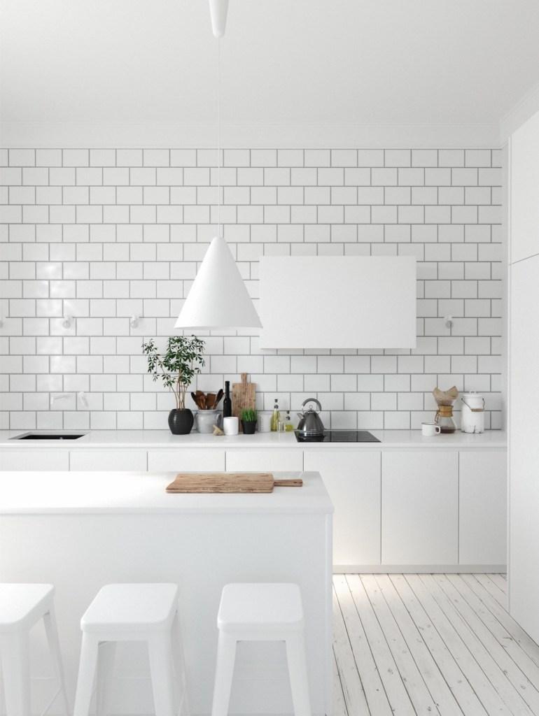 Les cuisines minimalistes marient le blanc 1