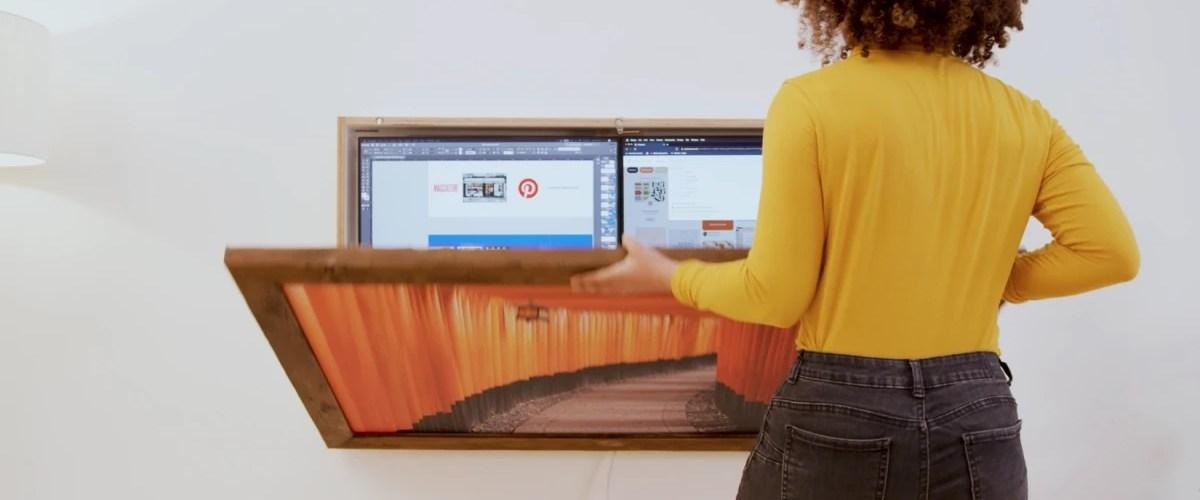 DropTop bureau mural se plie pour devenir une œuvre d'art murale
