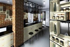 Bar et présentoirs