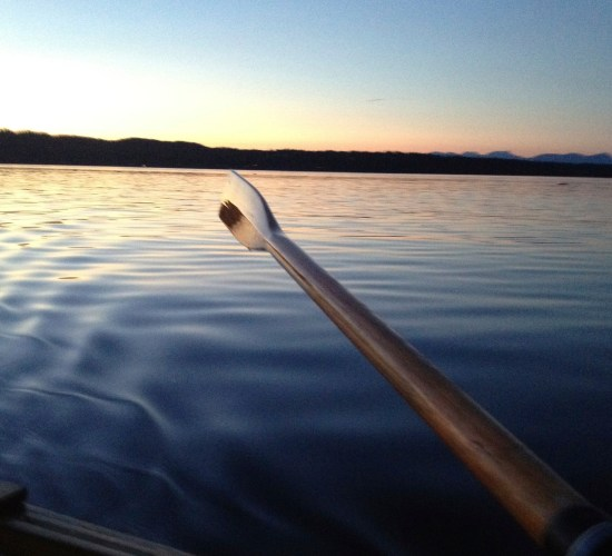 Evening Row in a wooden clinker