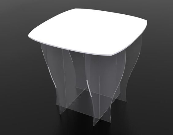 TABLE TRANSPARENTE PLATEAU COULEUR Decovitrines