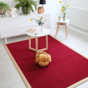tapis manege rouge ganse coton beige
