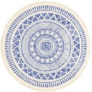 tapis rond en coton blanc a franges azteque motifs bleu