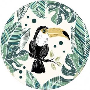 destockage tapis rond en vinyle jungle toucan