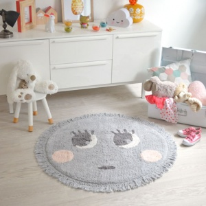 destockage tapis enfant nattiot rond molly gris o 90 cm