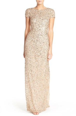 Adrianna Papell Gold Glitter Gown