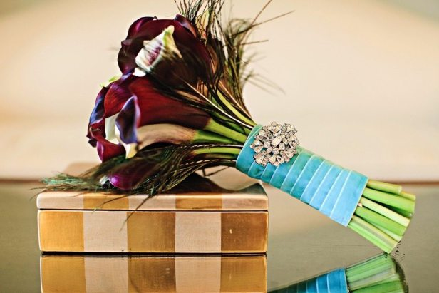 Blue Wrapped Bridal Bouquet