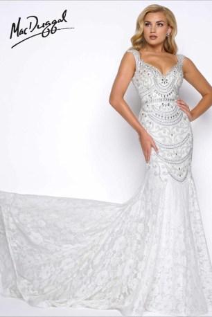 Embellished Vintage Style Wedding Gown   Mac Duggal 65684