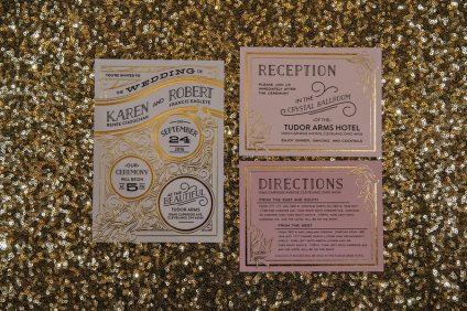 Gold, Ivory and Blush Pink Art Deco Wedding Invitation