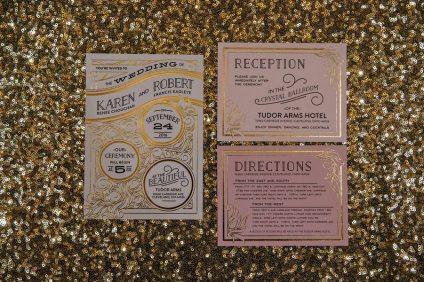 Gold, Ivory and Blush Pink Art Deco Wedding Invitation