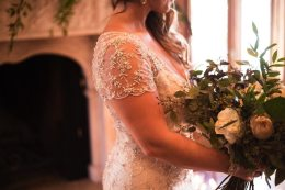 Sheer Beaded Sleeve Wedding Gown