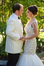 Vintage Style Bride + Groom in White Tux