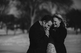 Winter Wedding Bride and Groom Kiss