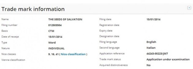 The Seeds of Salvation trademark europe