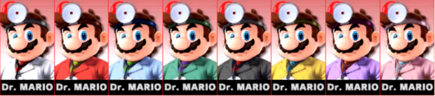 Dr Mario Palette Super Smash Bros 3DS