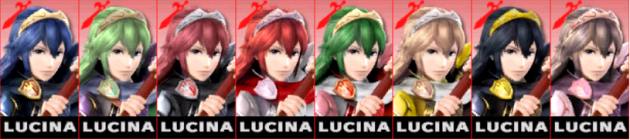 Lucina Palette Super Smash Bros 3DS