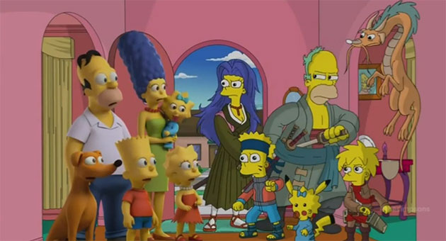 Los simpson anime halloween 2014 Los Simpson se animan con el cosplay de anime por Halloween