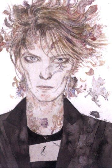 ilustración de David Bowie, por Yoshitaka Amano